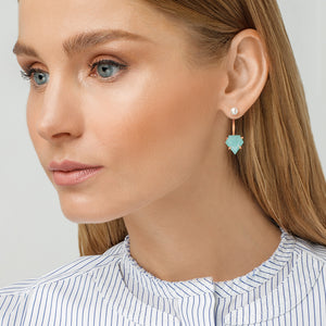 Amazonite and Pearl Jacket Single Earring