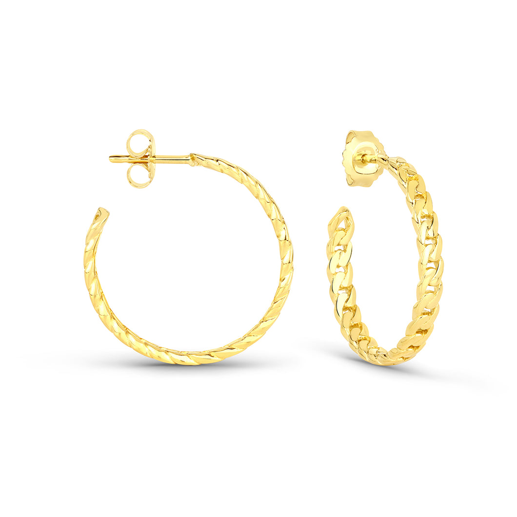 Curb Chain Mini Hoops Earrings