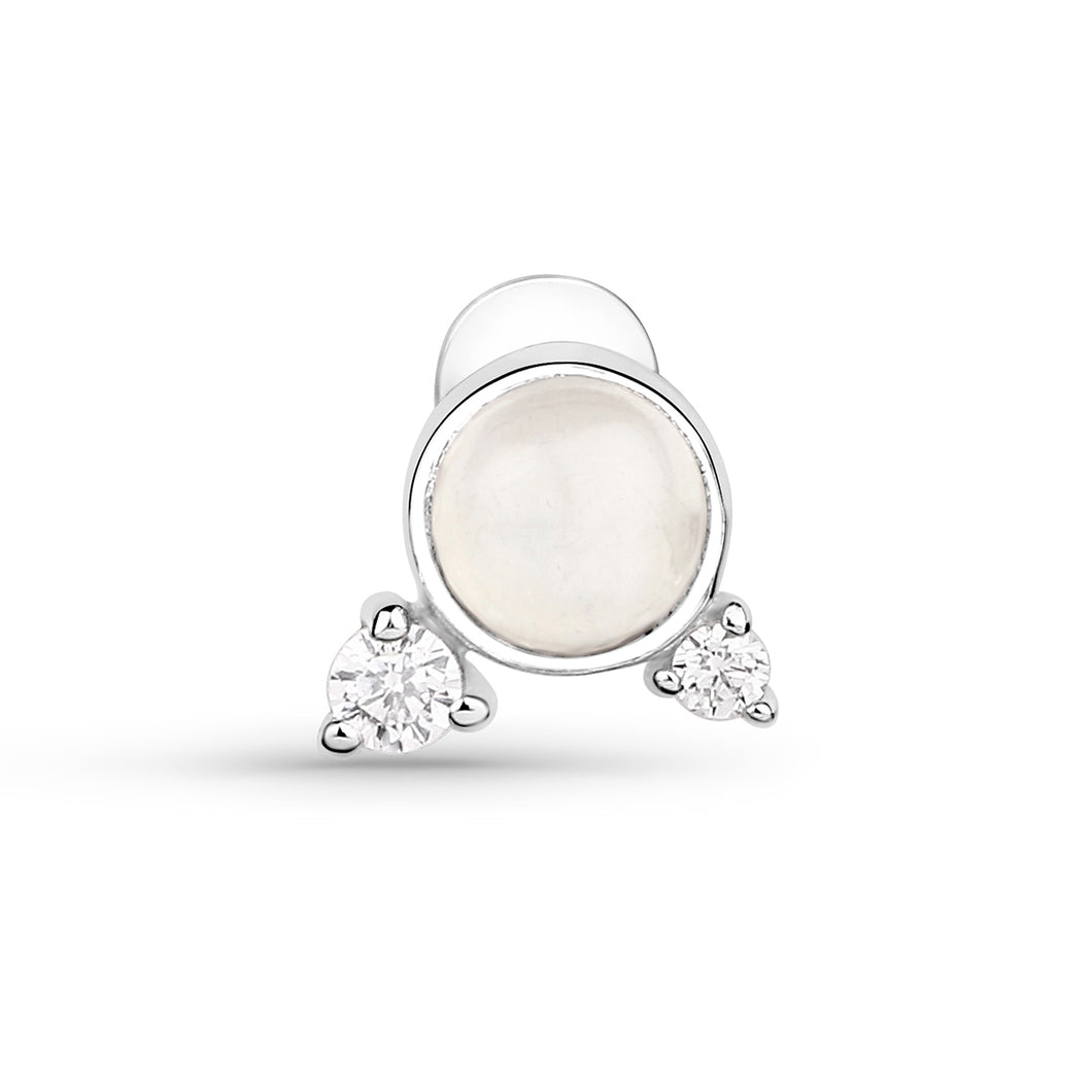Moonstone And Cubic Zirconia Threaded Stud
