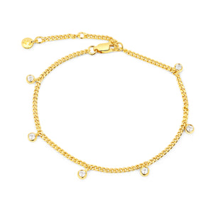 Multi Topaz Narrow Curb Chain Adjustable Bracelet