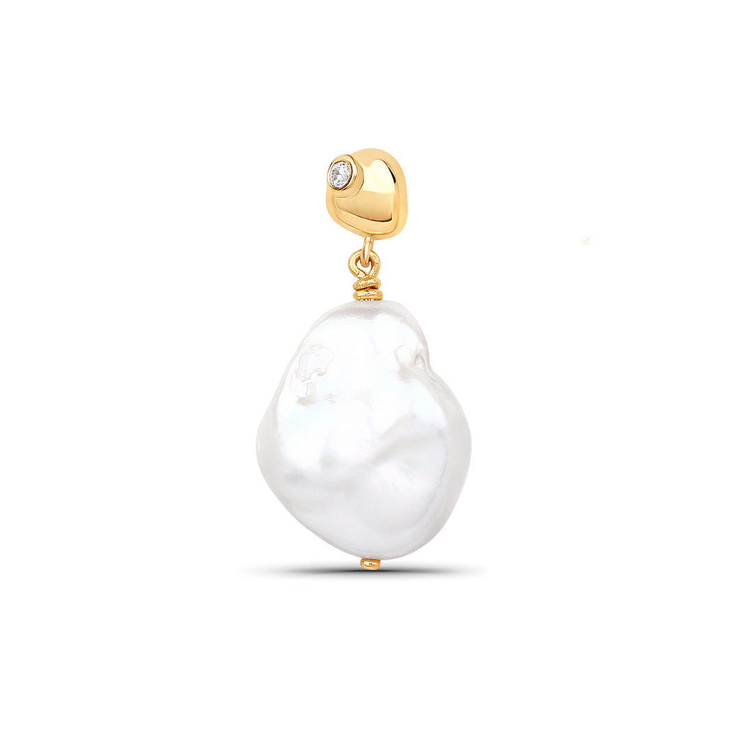 Mini Keshi Pearl Earring With Zircon