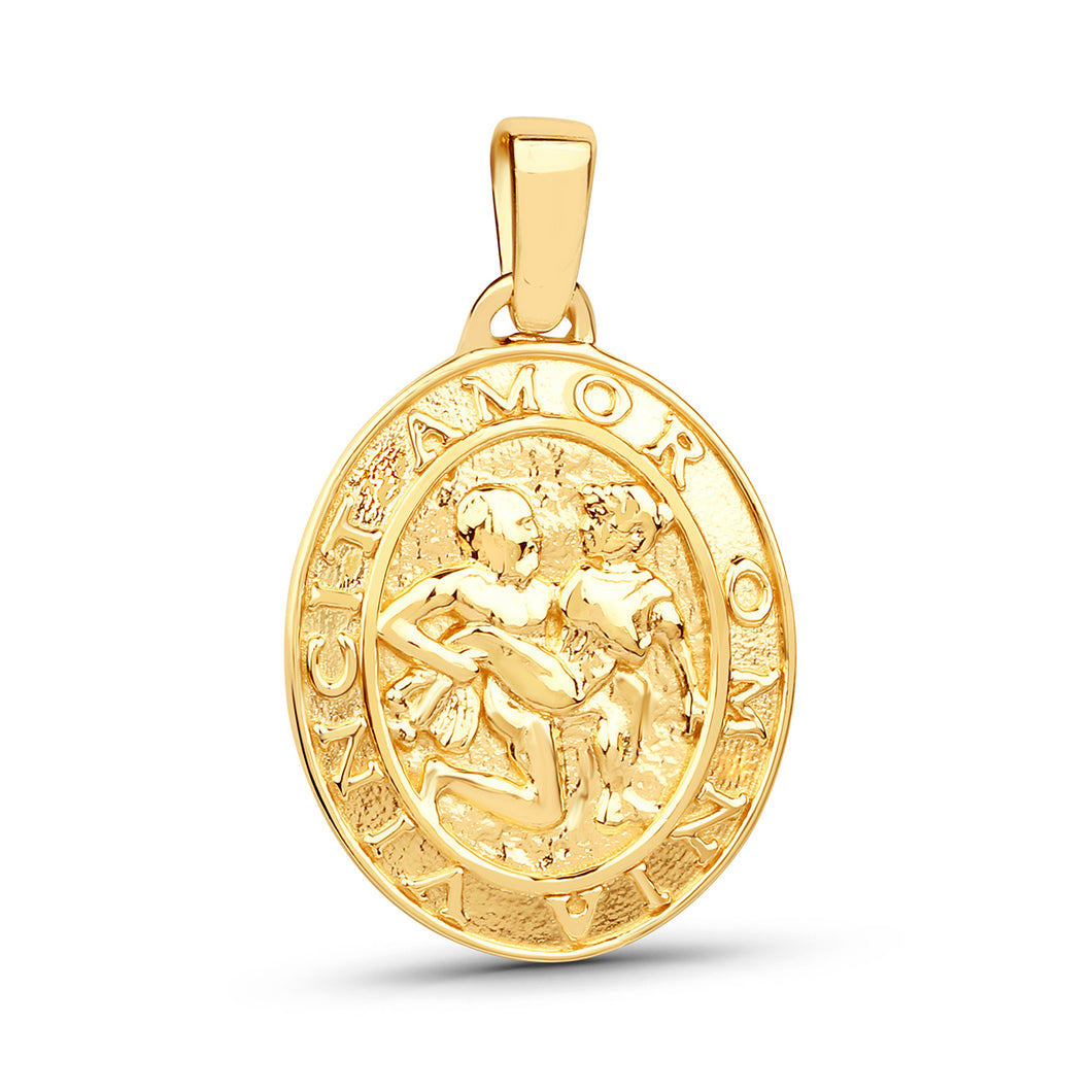 Amor Medallion Oval Coin Pendant