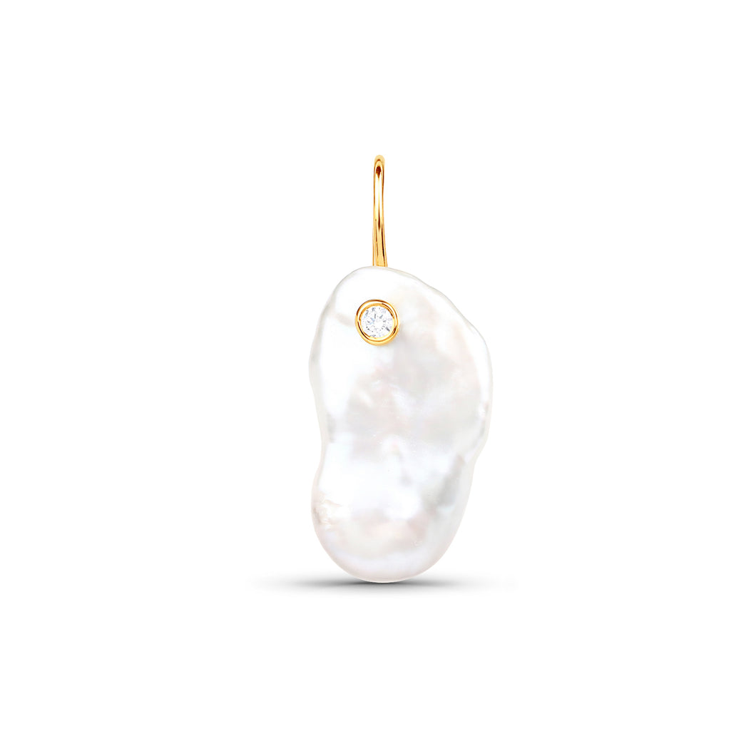 Keshi Pearl Earring With Zircon