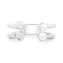 Load image into Gallery viewer, Freshwater Pearl and Zirconia Adjustable Open Ring