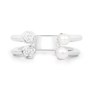 Freshwater Pearl and Zirconia Adjustable Open Ring