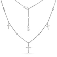 Load image into Gallery viewer, Triple Pave Cross Choker