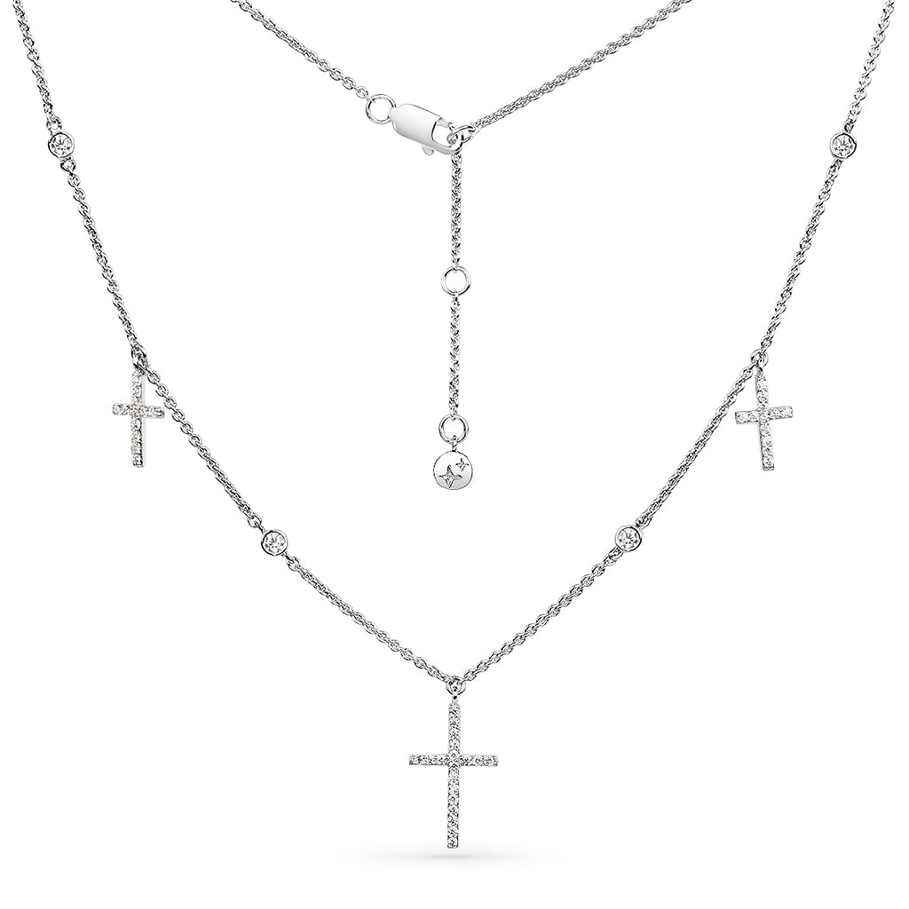 Triple Pave Cross Choker