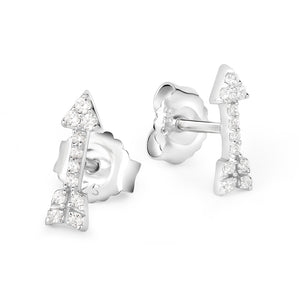 Cubic Zirconia Pave Arrow Studs