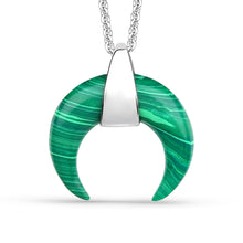 Load image into Gallery viewer, Malachite Curved Horn Pendant