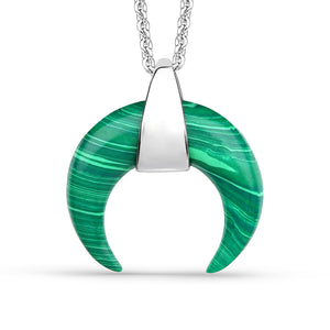 Malachite Curved Horn Pendant
