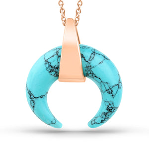 Turquoise Curved Horn Pendant