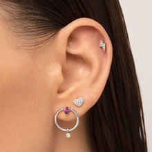 Load image into Gallery viewer, Circle Earring With Dangle