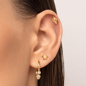 Five-Ball Trinity Cartilage Stud Earring