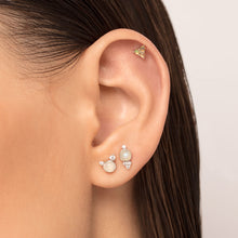 Load image into Gallery viewer, Moonstone And Cubic Zirconia Threaded Stud