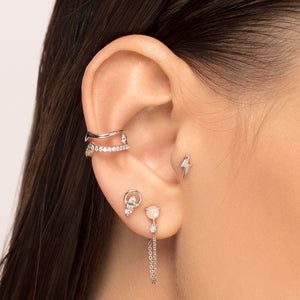 Moonstone and Cubic Zirconia Stud with Chain Piercing