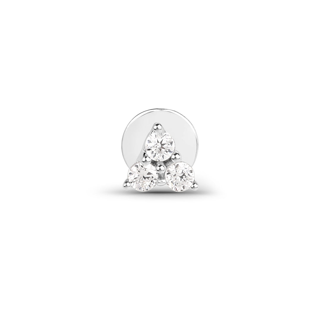 Cubic Zirconia Trinity Threaded Stud