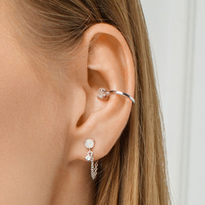 Moonstone and Cubic Zirconia Ear Cuf