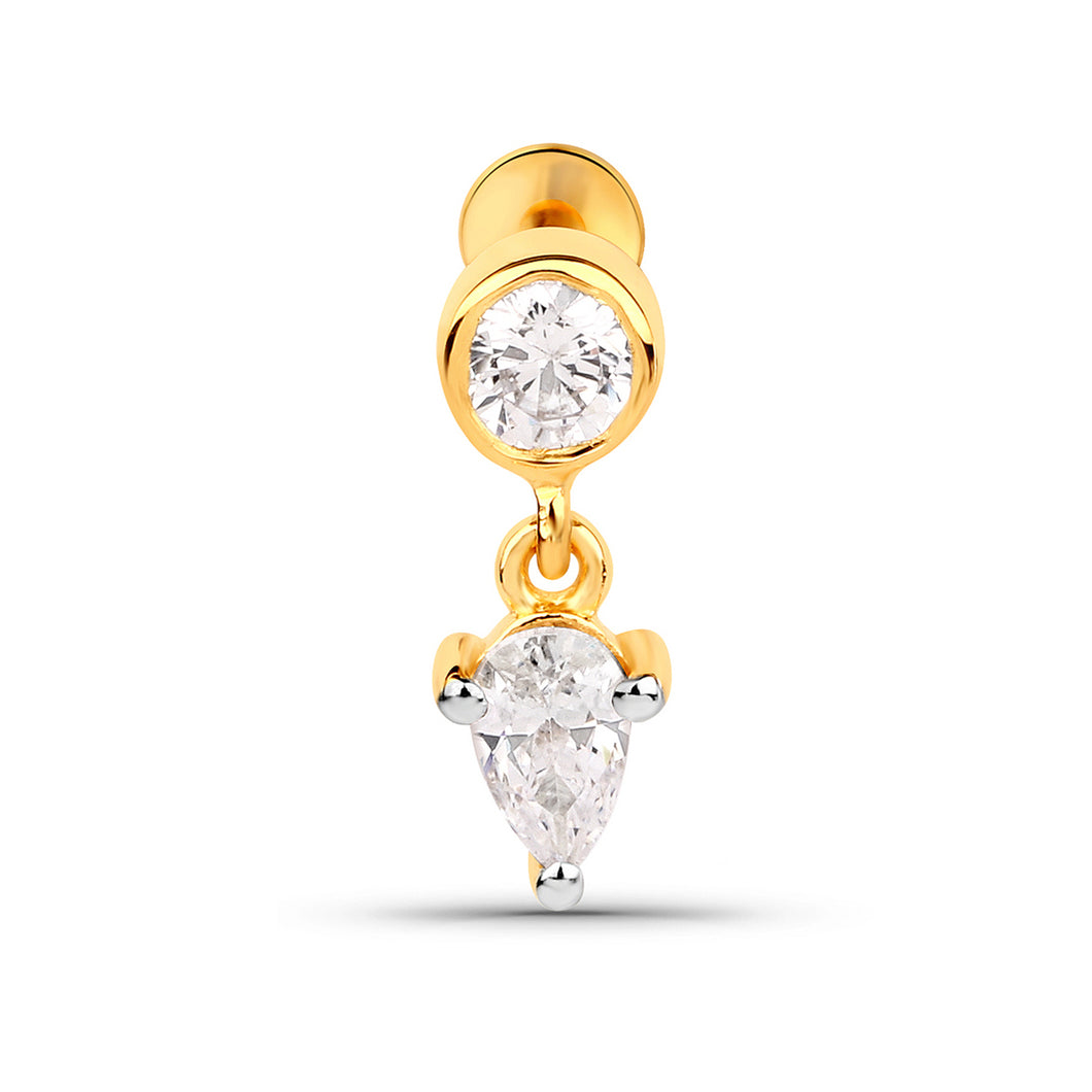 Cubic Zirconia Dangle Threaded Stud