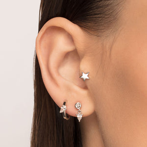 Cubic Zirconia Dangle Threaded Stud Piercing