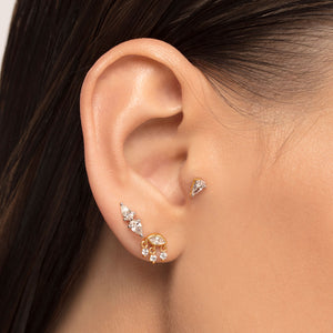 Cubic Zirconia with 3 Dangles Cartilage Stud