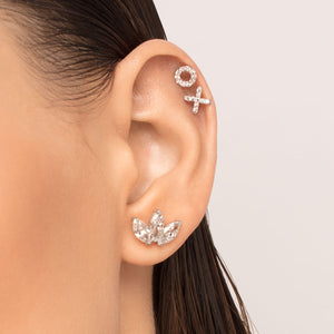 Cubic Zirconia Lotus Threaded Stud Piercing
