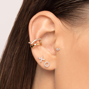 Cubic Zirconia X Threaded Stud