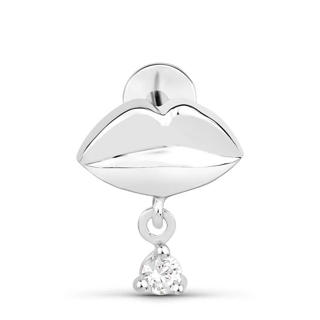 Cubic Zirconia Dangle Lips Threaded Stud