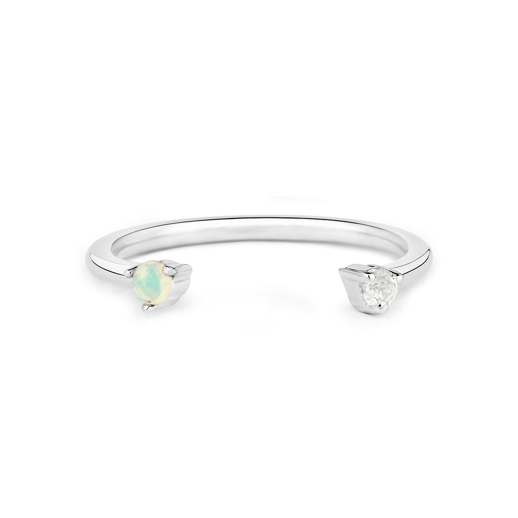 Topaz and Opal Adjustable Ring