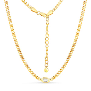 White Topaz Curb Chain Adjustable Necklace