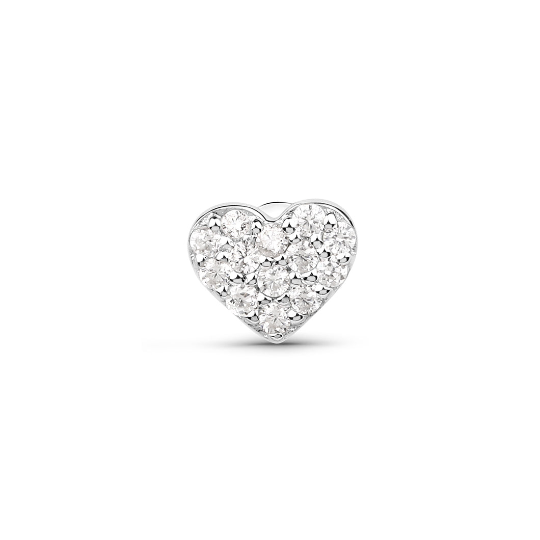 Cubic Zirconia Heart Shaped Cartilage Stud