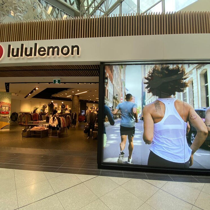 Lululemon lightboxes at Eaton Centre in Toronto