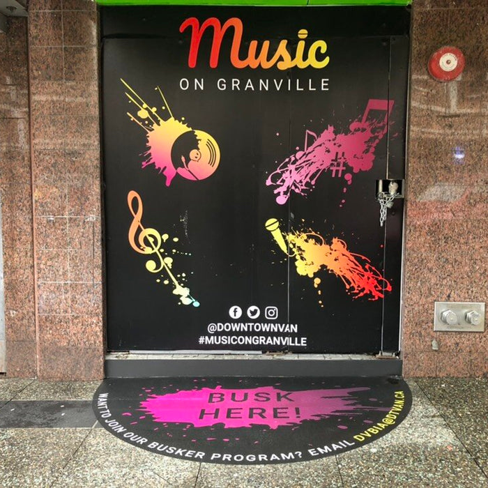 Floor Graphics. anti-graffiti. alumi panel. Music Granville