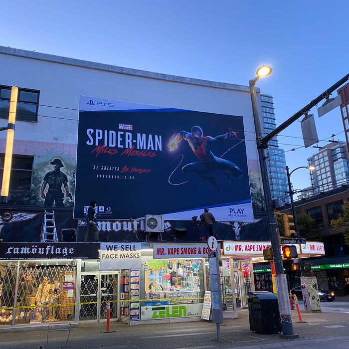 PS5 - Spiderman banner in Downtown Vancouver