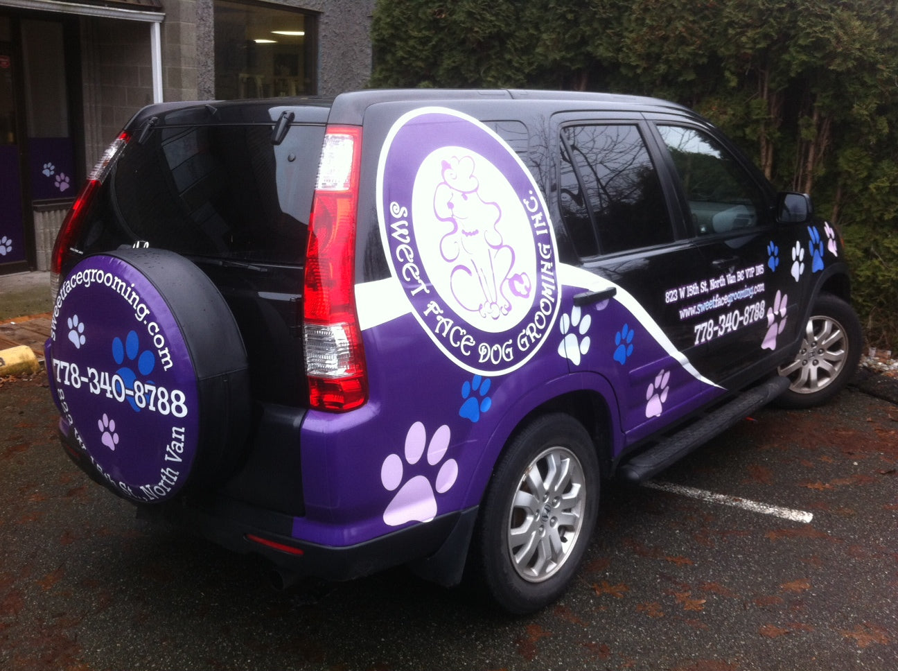Partial Vehicle / Car Wrap Printed in Vancouver for Sweet Face Dog Grooming