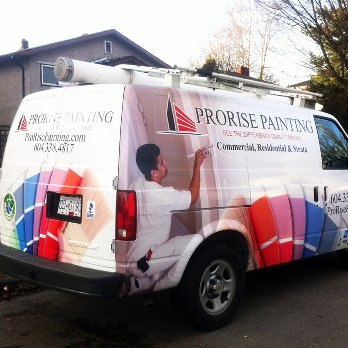 Full Vehicle WRAP job completed for ProrisePainting in Vancouver, BC