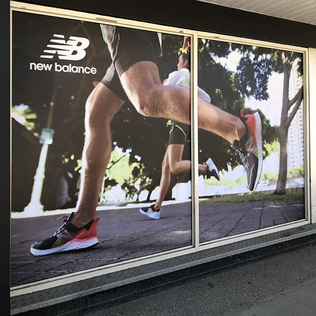 We are happy to see our retail friends/clients shops are finally reopening up!  Fresh vinyl graphics @runningroom in Edmonton. @new_balance_canada  #retail #vinyl #graphics #edmonton #run #running #runnersofinstagram #shoes #shop #print #printing