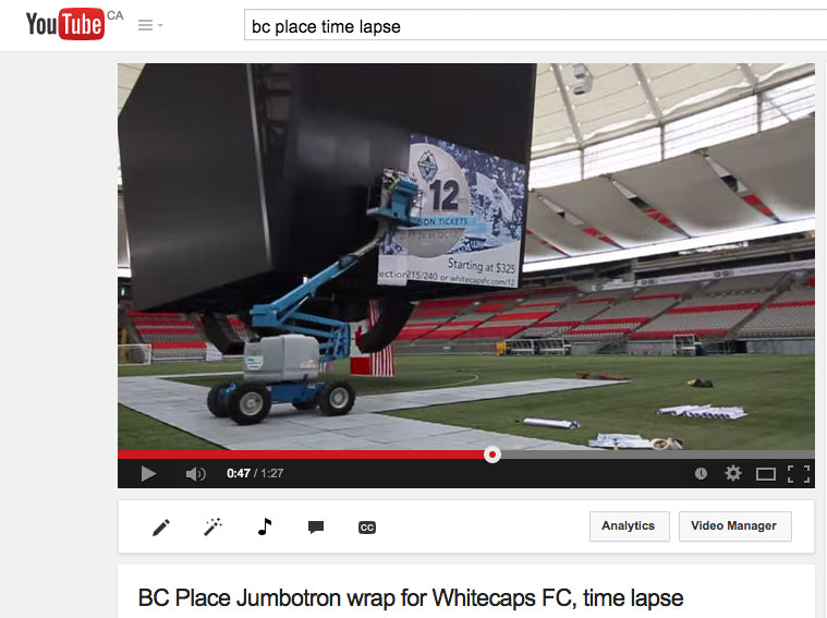BC place whitecaps mural installation