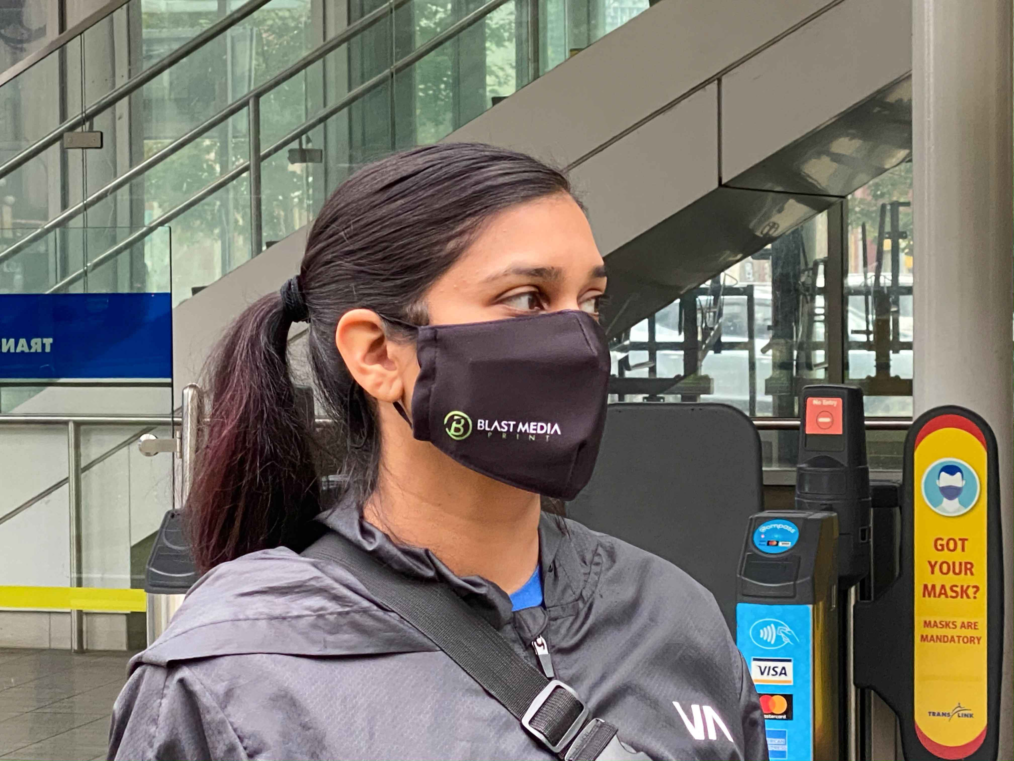 Custom Printed 3-Layer Washable Face Masks with Adjustable Ear Loops (includes 2.5 PM filter, Minimum Order of 30)