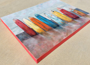 Rainy Surfboards 18x24x1.5, Original, Gallery Wrapped Canvas, Unframed
