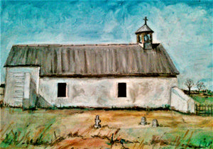 New Mexico Church, Oil, Crayon, 20 X 16, Matted, Original