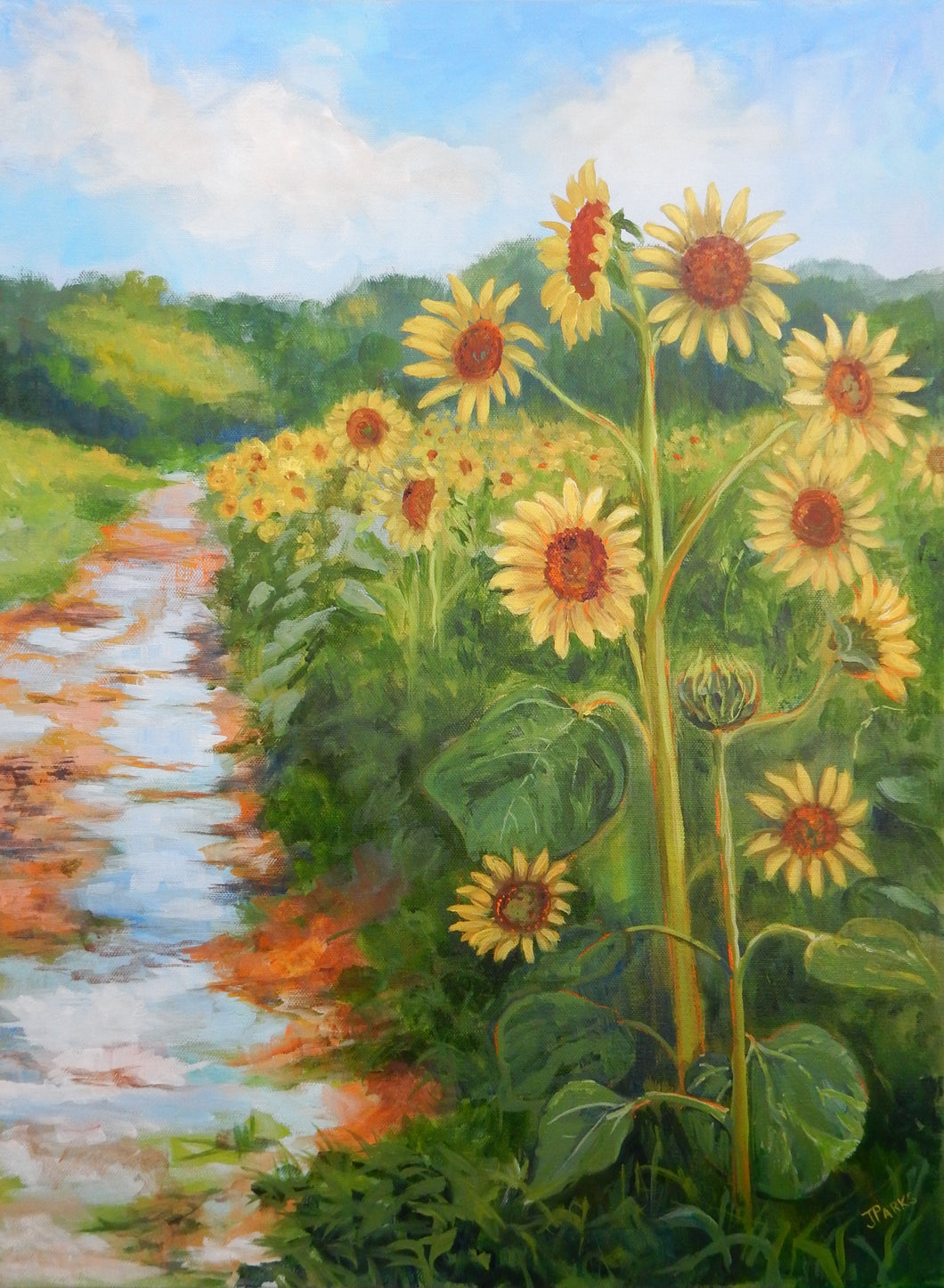 Sunflowers and Puddles, 18 x 24 x .8 (unframed)