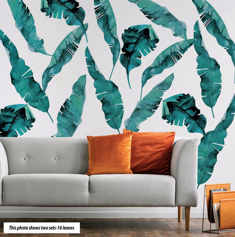 8 Large Banana Leaves Blue Green Wall Decals, Eco Friendly Tropical Decals - Wall Dressed Up