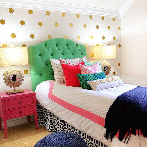 30 Gold or SIlver Metallic 4 inch Polka Dot Vinyl Wall Decals - Wall Dressed Up