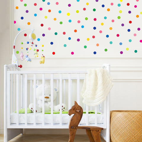 "121 Mini 2"" Rainbow Polka Dot Fabric Wall Decals"