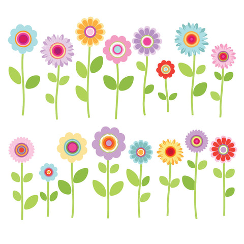 Wall Decals Spring Garden Flowers, Eco Friendly Peel And Stick Reusable  Fabric Wall Stickers Part 94