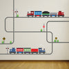 2 Freight Train Wall Decals with Straight and Curved Railroad Track - Wall Dressed Up - 1