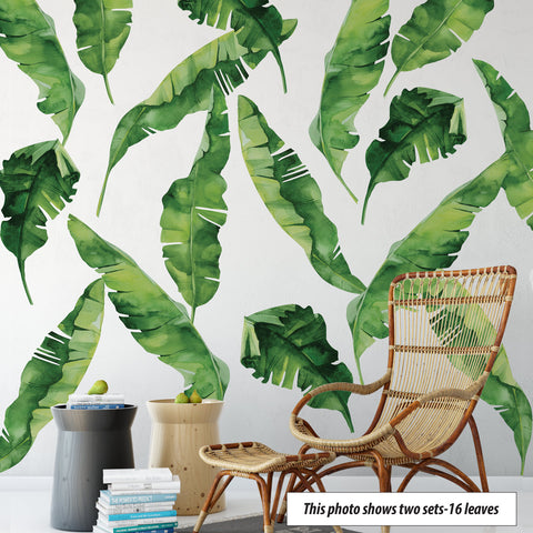 8 Large Banana Leaves Wall Decals, Eco Friendly Matte Fabric Tropical Decals