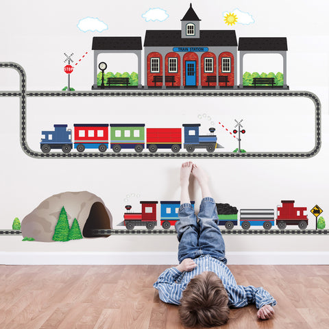 2 Freight Trains, Train Station and Tunnel Wall Decals with Straight and Curved Railroad Track - Wall Dressed Up - 1