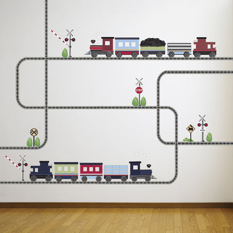 2 Freight Train Wall Decals with Straight and Curved Railroad Track Color 2 - Wall Dressed Up