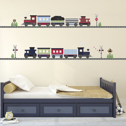 2 Freight Trains & Straight Railroad Track Wall Decals Eco-Friendly Wall Stickers Col. 2